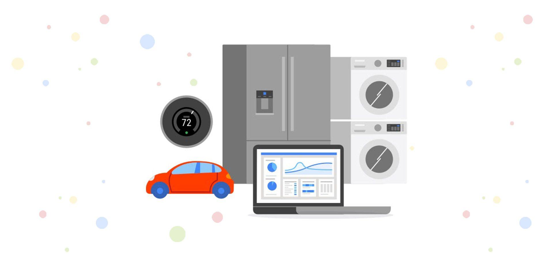 Google Cloud   IoT   Car, Smart Ref, Laptop, Dashboard