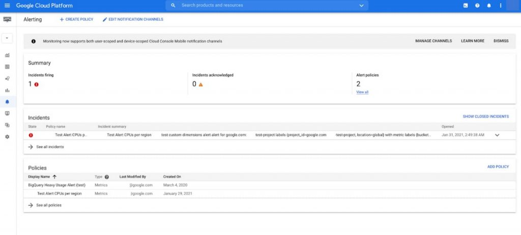 Google Cloud | Alerting
