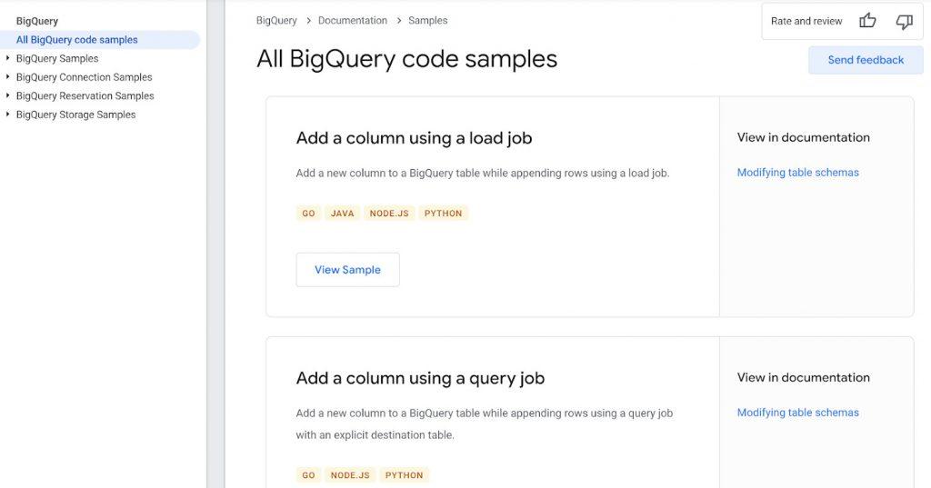 Google Cloud   BigQuery code samples